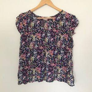 FRANCESCAS | navy + floral open-back blouse